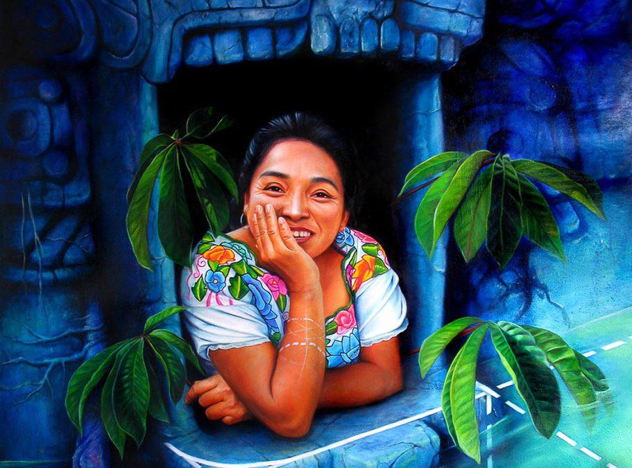 Corazón y rostros mayas