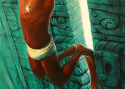 Raíz de la creación (tríptico), óleo sobre tela, 130 x 300 cm, 2007