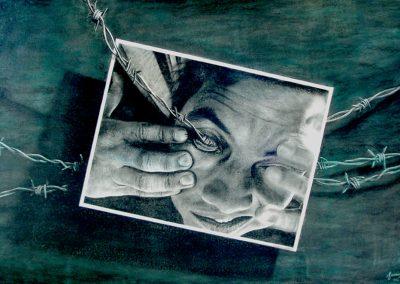 Recuerdos que ya no quiero ver, carbón con fondos de acrílico sobre madera, 122 x 81 cm, 2006