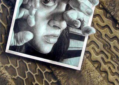 Recuerdos vivos, carbón y acrílico sobre madera, 81 x 122 cm, 2006