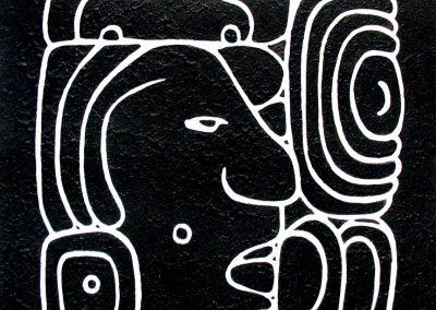Sac xib chaac (blanco-norte), acrílico sobre madera, 50 x 50 cm, 2007