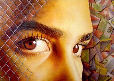 Una nueva mirada latinoamericana, óleo, arena y malla ciclónica sobre madera, 122 x 80 cm, 2006