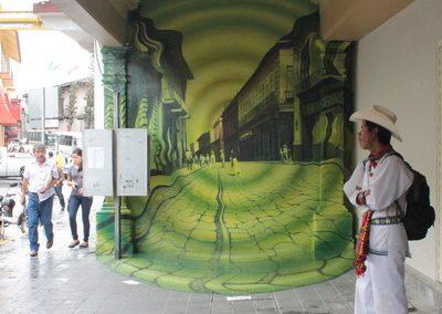 001 Túnel del tiempo, Acrílico sobre muro, Edificio Enríquez, Xalapa, Veracruz