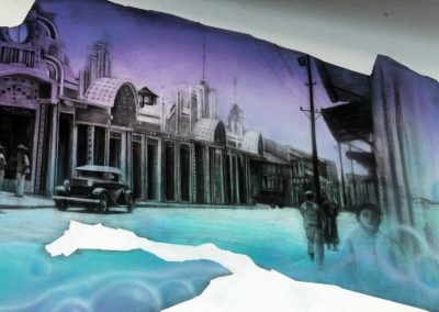 003 Manantial de historias, acrílico y carbon sobre muro, Plaza Real, Xalapa, Veracruz