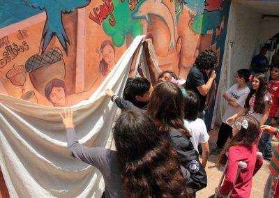 003 Viaje de sexto, mural colectivo, Colegio Nuestro Mundo, Xalapa, Veracruz, 2014