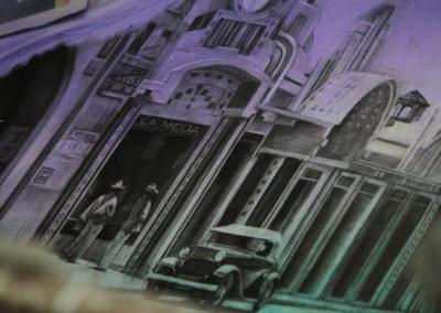 004 Manantial de historias, acrílico y carbon sobre muro, Plaza Real, Xalapa, Veracruz