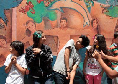 005 Viaje de sexto, mural colectivo, Colegio Nuestro Mundo, Xalapa, Veracruz, 2014