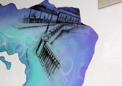 006 Manantial de historias, acrílico y carbon sobre muro, Plaza Real, Xalapa, Veracruz