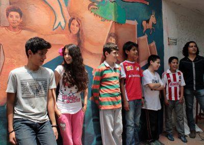 006 Viaje de sexto, mural colectivo, Colegio Nuestro Mundo, Xalapa, Veracruz, 2014