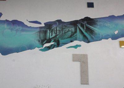 007 Manantial de historias, acrílico y carbon sobre muro, Plaza Real, Xalapa, Veracruz