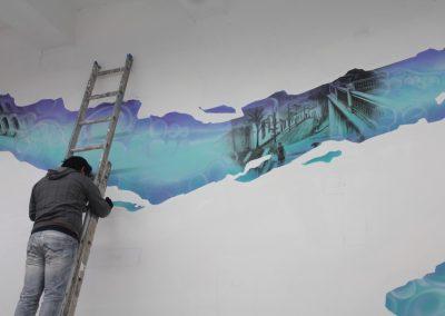 008 Manantial de historias, acrílico y carbon sobre muro, Plaza Real, Xalapa, Veracruz