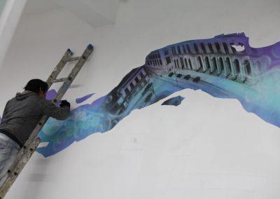 011 Manantial de historias, acrílico y carbon sobre muro, Plaza Real, Xalapa, Veracruz