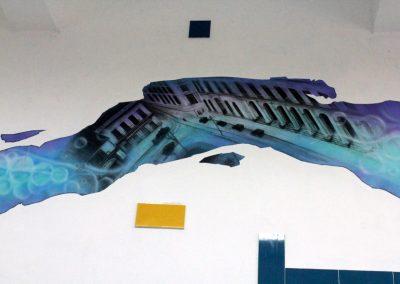 012 Manantial de historias, acrílico y carbon sobre muro, Plaza Real, Xalapa, Veracruz