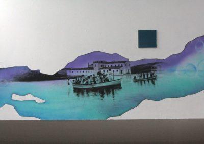 013 Manantial de historias, acrílico y carbon sobre muro, Plaza Real, Xalapa, Veracruz