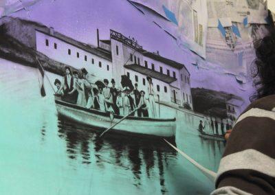 014 Manantial de historias, acrílico y carbon sobre muro, Plaza Real, Xalapa, Veracruz