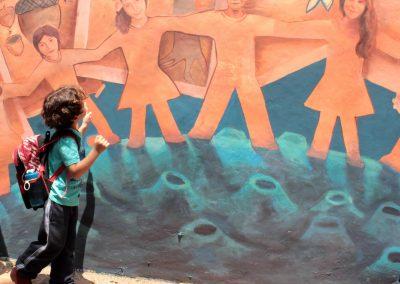 014 Viaje de sexto, mural colectivo, Colegio Nuestro Mundo, Xalapa, Veracruz, 2014