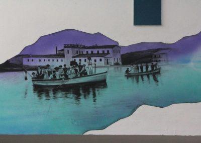015 Manantial de historias, acrílico y carbon sobre muro, Plaza Real, Xalapa, Veracruz