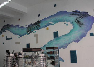 016 Manantial de historias, acrílico y carbon sobre muro, Plaza Real, Xalapa, Veracruz