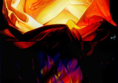 Correspondencia física en la eterna luz, acrílico sobre madera 100 x 200 cm, 2004