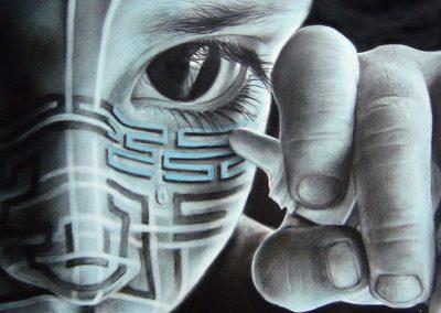 Emociones artificiales, carbón y acrílico sobre papel preparado, 35.5 x 25 cm, 2006