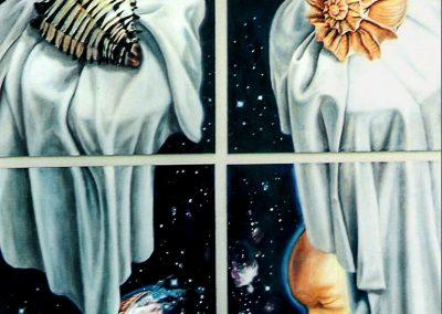 En comunión con el universo, óleo sobre papel, 90 x 122 cm, 2004