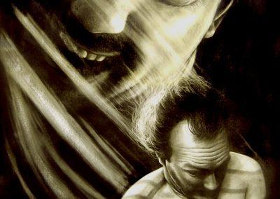 Esquizofrenia de occidente, carbón y acrílico sobre papel preparado, 93 x 133 cm, 2006
