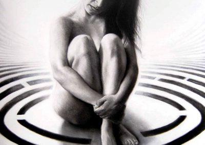 Eterna salida, carbón sobre papel, 35.5 x 50 cm, 2006
