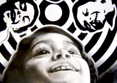 Infinitas posibilidades, carbón y acrílico sobre papel imprimado, 99 x 133 cm, 2006