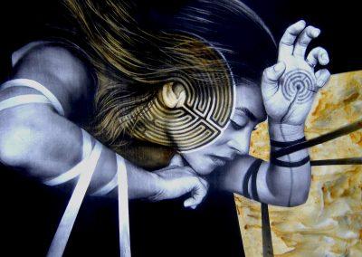 Laberinto espiritual, carbón y acrílico sobre madera, 60 x 50 cm, 2007